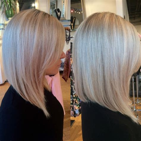 layered angled bob by gia platinum blonde by 42 best images about hair on pinterest long bob with