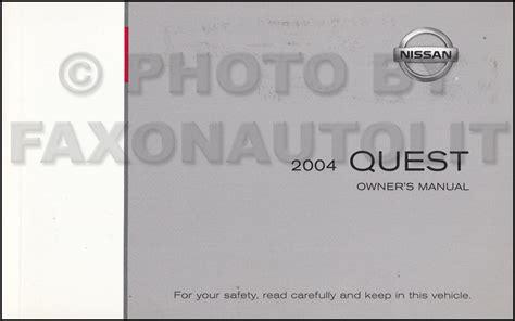 vehicle repair manual 2004 nissan quest electronic throttle control 2004 nissan quest mini van owner s manual original