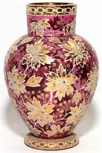moser enameled cranberry glass vase lot 121191