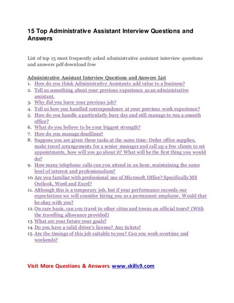 15 top administrative assistant questions and answers