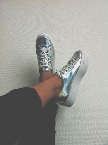 shoes platform shoes holographic sneakers wheretoget