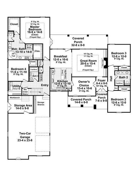 traditional style house plan 4 beds 3 baths 2400 sq ft