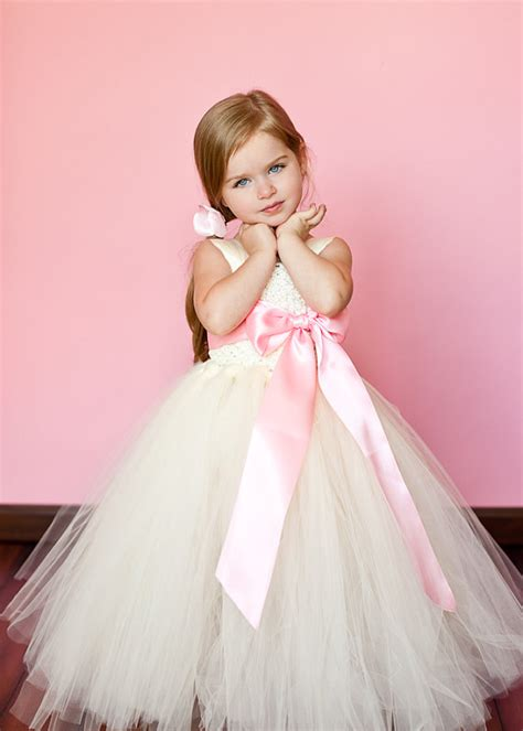 Ivory and pink flower girl tutu dresses tu tu dresses