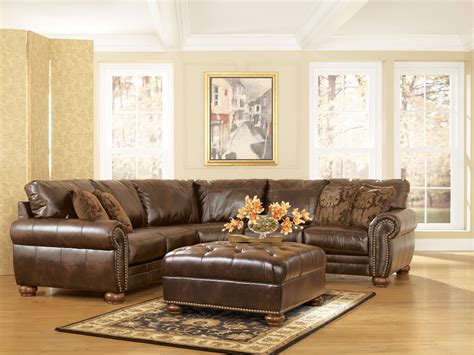 leather sectionals ashley furniture durablend traditional antique brown sectional sofa by ashley