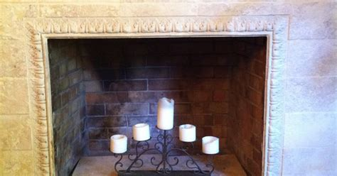 fireplace reface with tumbled marble existing brick