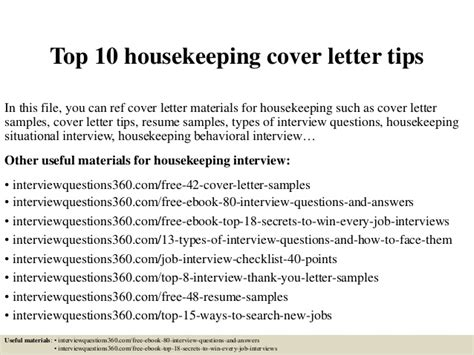 Housekeeping Aide Cover Letter by Top 10 Housekeeping Cover Letter Tips