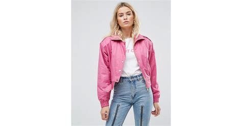 Jaket Bomber Wanita Pink Jaket Bomber Wanita Polos asos 80 s bomber jacket in pink in pink lyst
