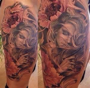 praying woman flowers portrait tattoo ideas tattoo designs