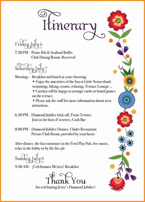 10 party itinerary template musicre sumed