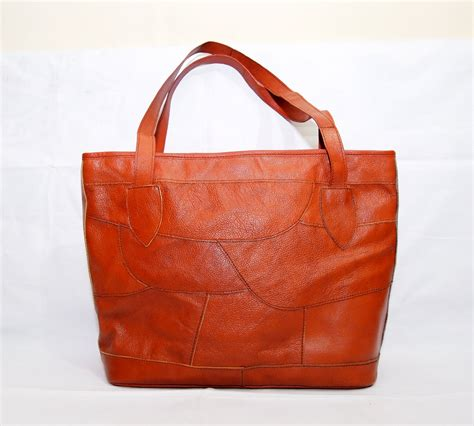 Leather Patchwork Bag - vintage leather patchwork tote bag kode produk kb18