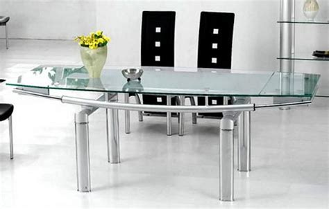 contemporary glass dining room table with frosted glass