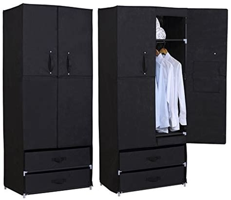 Portable Closet With Doors Woltu Portable Clothes Closet Wardrobe With 2 Drawer Clothes Storage With Heavy Duty Doors Cloth