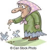 alimentazione piccioni disegno vecchio mendicante creativo illustrazione