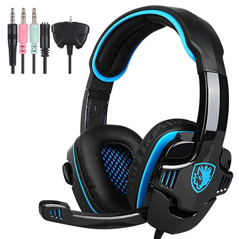 Headphone Pc Gaming sades pro gaming hifi stereo headset headband with microphone pc notebook blue ebay