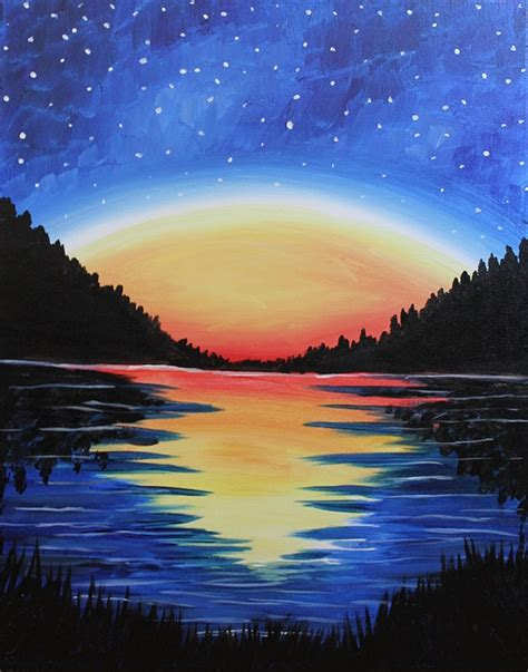 paint nite west island the gallery for gt easy paintings of sunsets