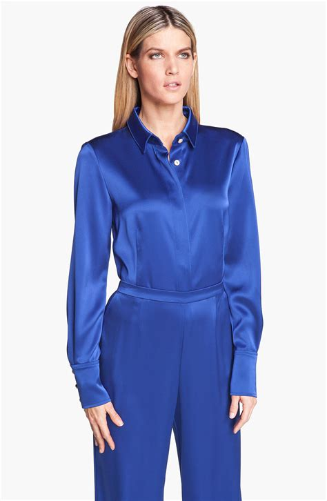 St Johns Finder St Collection Liquid Satin Blouse Silk Pintuck Blouse