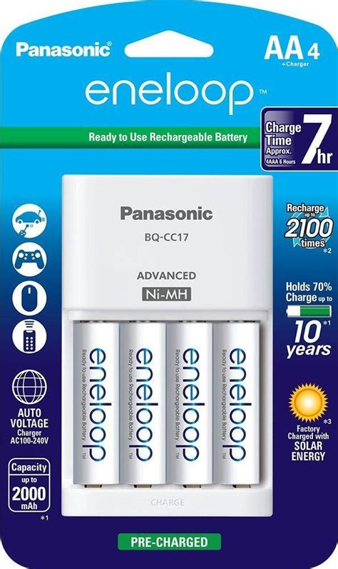 Advanced Charger Sanyo Eneloop For Aa And Aaa Battery Tanpa T2909 eneloop advanced nimh battery charger with four 2100 cycle aa eneloop cells