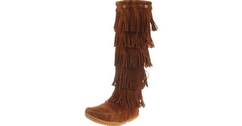 minnetonka s 5 layer fringe boot boots in brown lyst