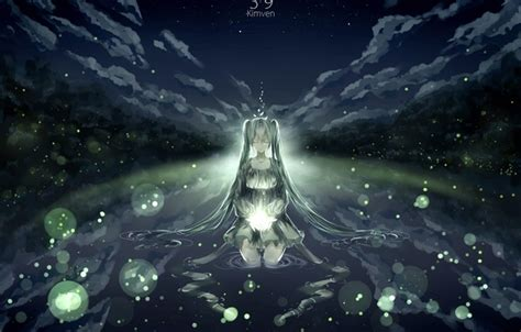 anime girl with fireflies wallpaper hatsune miku art nature fireflies anime