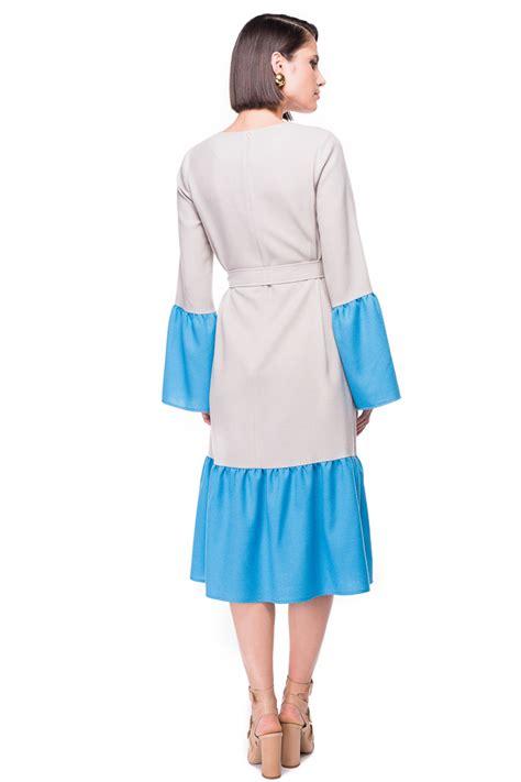 Ab Studio Twotone Dress two tone ruffled wool dress chemistry studio