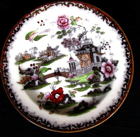 brown willow pattern chinoiserie plate bowers quot pekin quot pattern antique 19th c