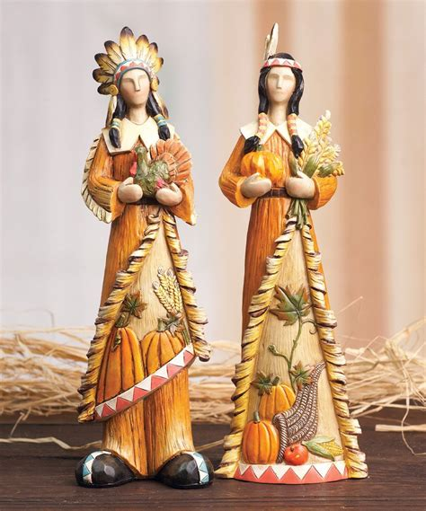 look at this harvest indian figurine set of two on