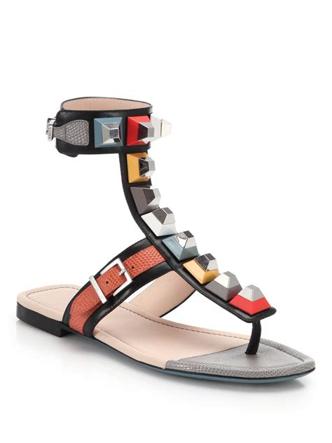 fendi sandals fendi studded gladiator sandals in black lyst