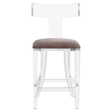 acrylic counter stools owain modern grey velvet acrylic counter stool kathy kuo