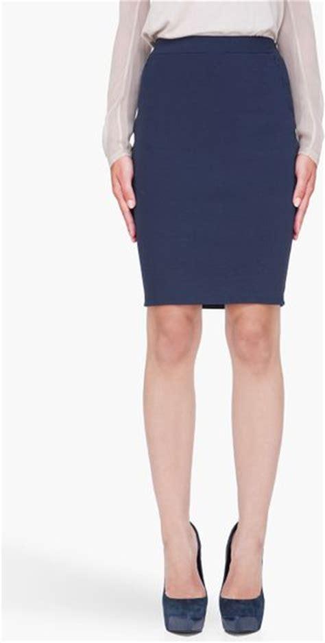 3 1 phillip lim navy stretch pencil skirt in blue navy