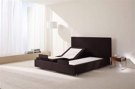 Black And Chrome Bedroom Furniture Black Suede King Size Adjustable Bed With High Headboard And Chrome Metal Placed On White