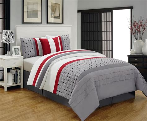 red and white bedding chic 9pc contemporary gray red white striped polka dot