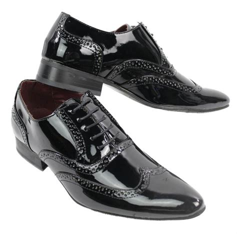 mens patent shiny black leather laced shoes italian design