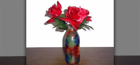 how to make a recycled flower vase from a glass bottle