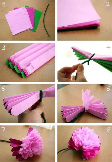 How To Make Tissue Paper Flowers Without Pipe Cleaners - diy tissue paper flowers pictures photos and images for