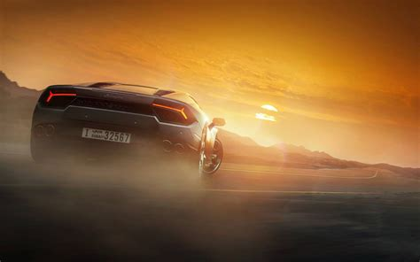 Lamborghini Huracan supercar back view at sunset wallpaper