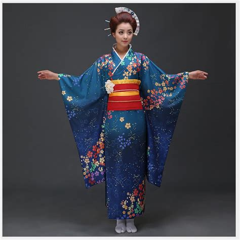 Dress Obi 2in1 Flower aliexpress buy high quality blue japanese kimono dress traditional yukata with obi