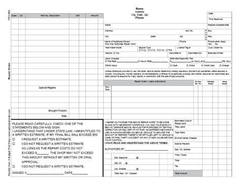 printable repair order forms abps business froms automotive repair order template