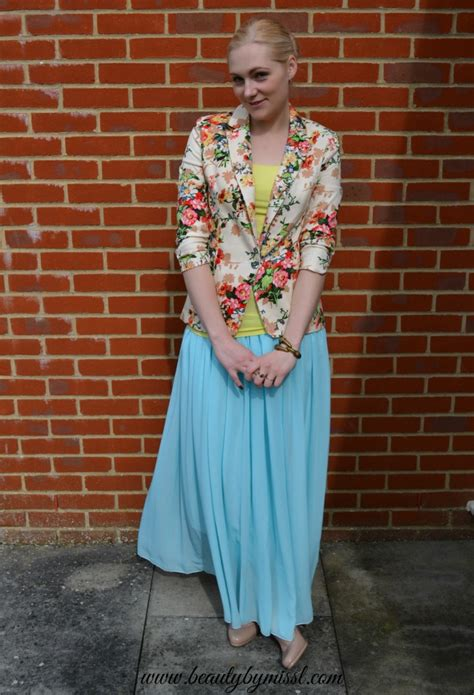 Maxi Blazer Flowery Gr90785 ootd floral blazer and light blue maxi skirt