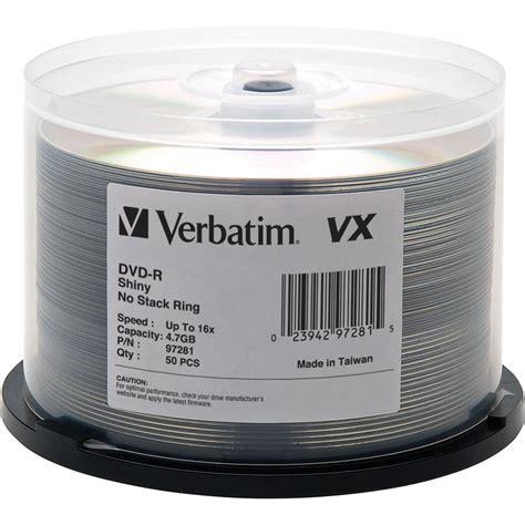 Cdr Verbatim Silver Spindel 50 verbatim vx shiny silver 4 7 gb dvd recordable discs 97281 b h