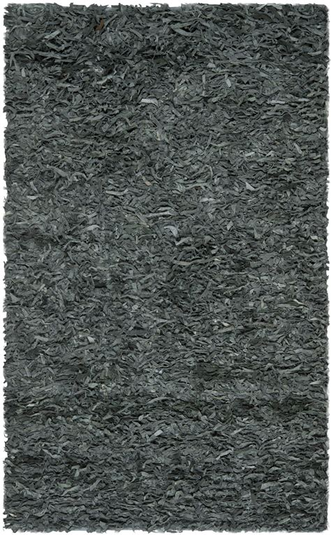 Safavieh Hand Knotted Grey Leather Shag Area Rug Lsg511n Leather Shag Area Rug