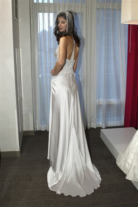 bebe wedding dress bebe wedding dress silk sultry gown with train beading