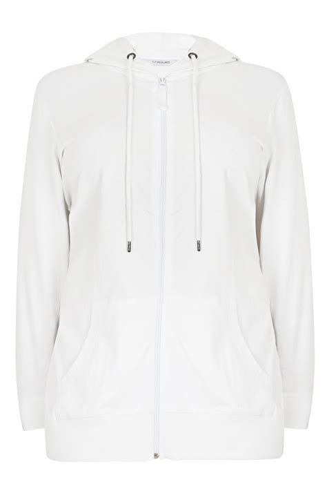 Point Blank Gift Card Balance - white zip through cotton hoodie plus size 16 to 36