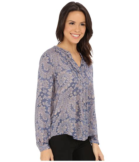 Lucky Brand Orange Paisley lucky brand textured paisley top in blue lyst