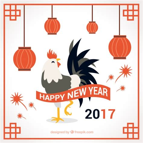 new year of rooster 2017 new year background of rooster with lanterns vector