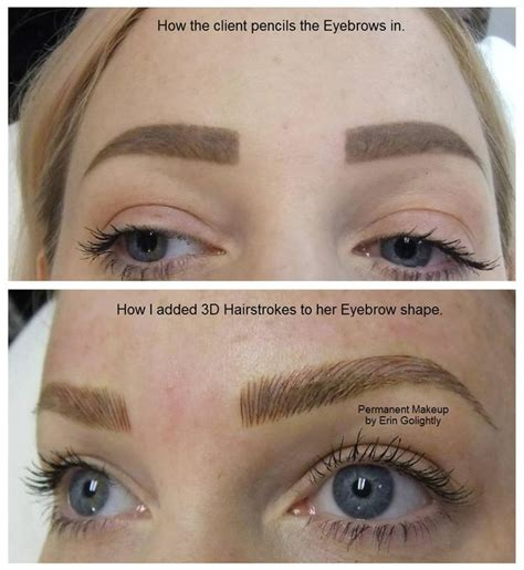 tattoo eyebrows aberdeen before and a hairstroke permanent makeup pinterest