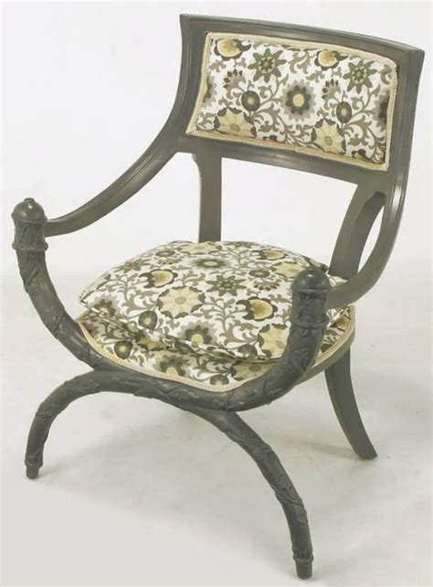 Curule Chair by Pair Of Carved Wood Curule Chairs In Slate Grey Lacquer