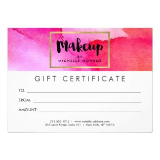 Makeup Gift Certificate Template cosmetics invitations announcements zazzle