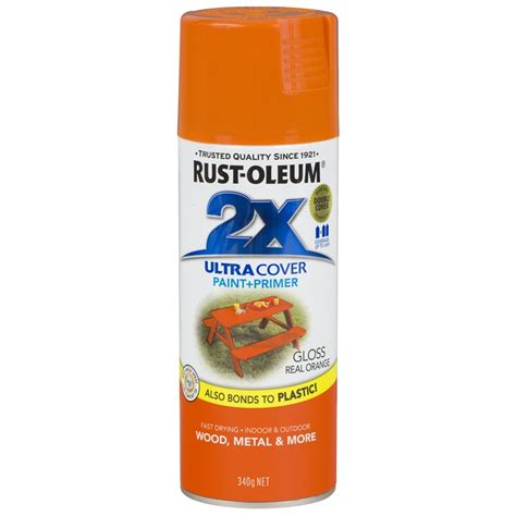 rust oleum 340g ultra cover 2x gloss real orange spray paint