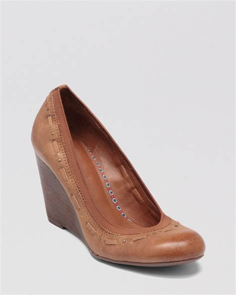 lucky brand wedge pumps gildie in brown lyst