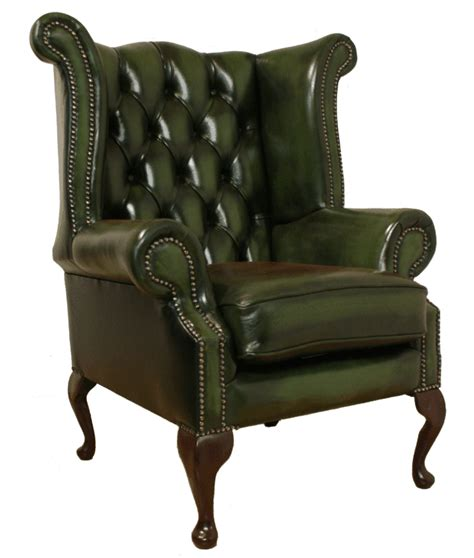 Wingback Armchair by Chesterfield Armchair High Back Fireside Wing Chair Green Leather Green Library